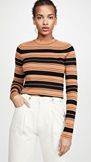 Proenza Schouler White Label Compact Stripe Cropped Pullover
