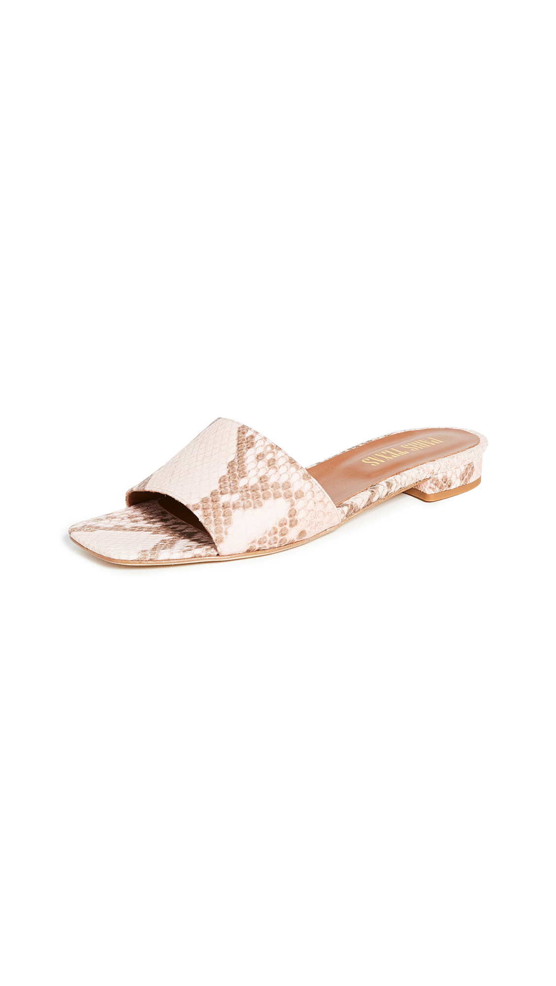Paris Texas Faded Python Print Square Toe Flats – 30% Off Sale