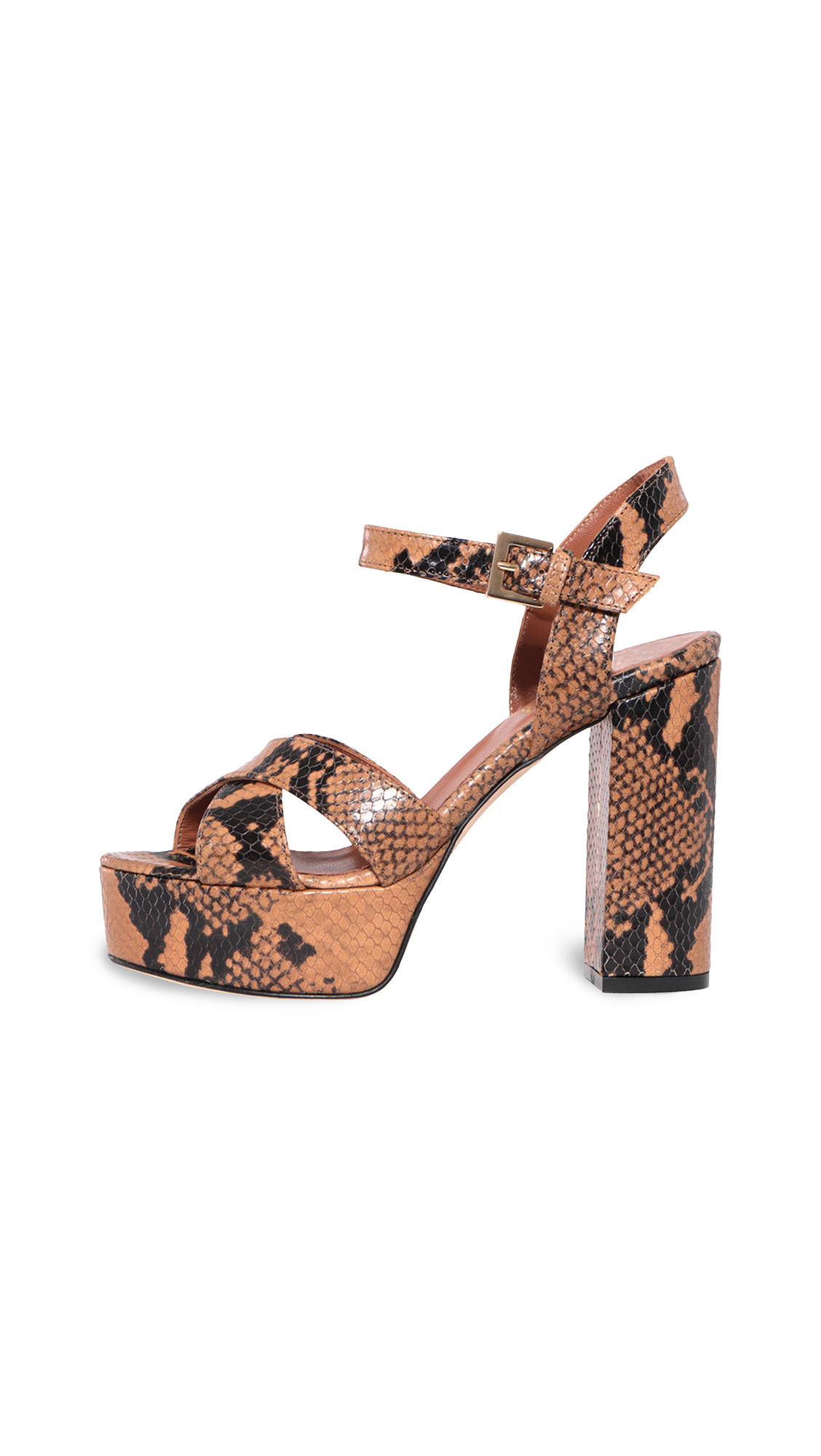Paris Texas Python Print Platform Sandals