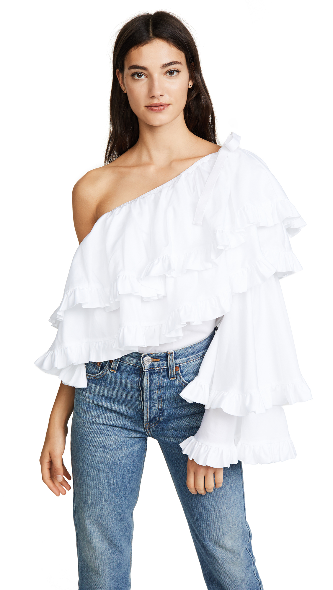 Petersyn Maria Blouse In White Superfine Twill