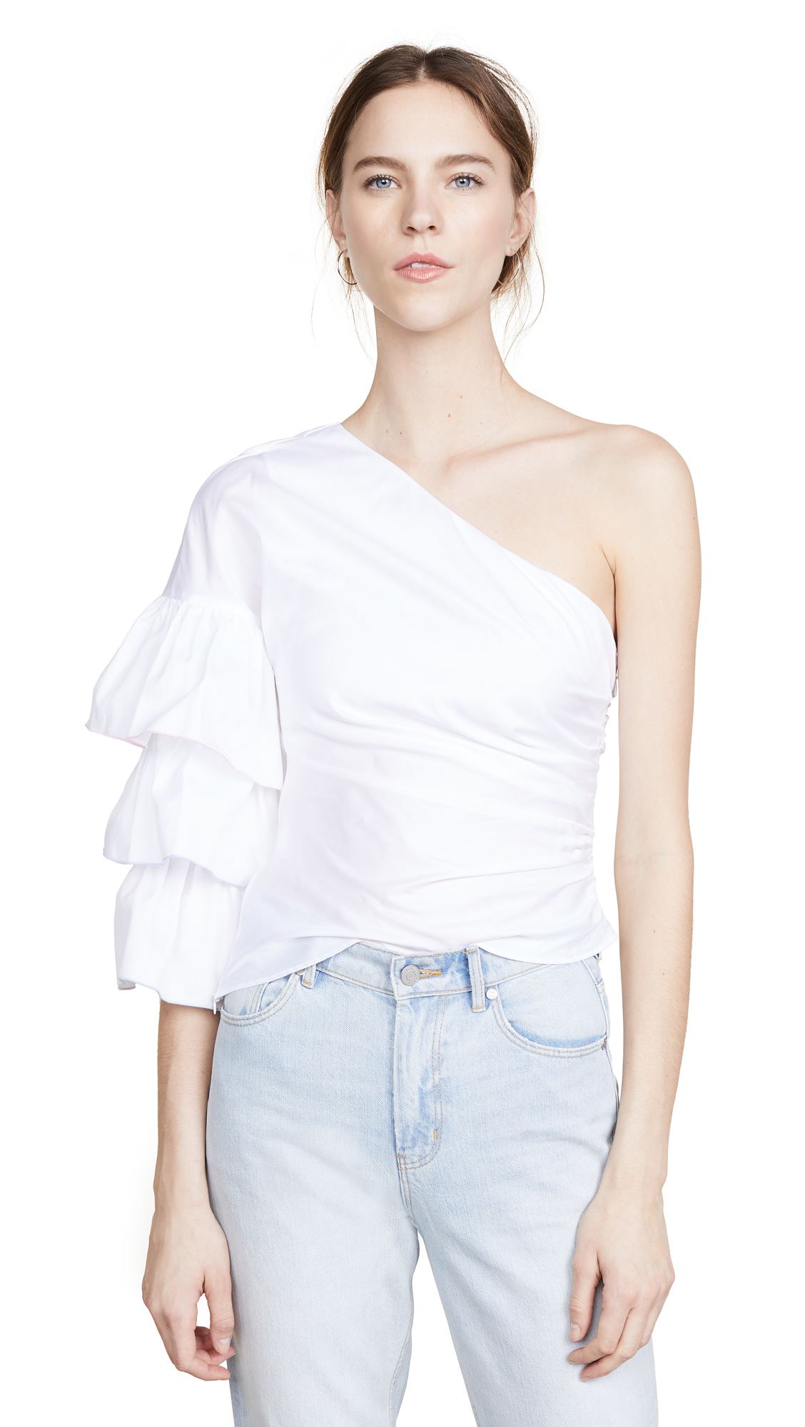 Petersyn Summer One Shoulder Top In White
