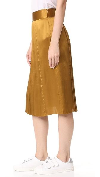 school gamil pleated sateen silk midi skirt brown