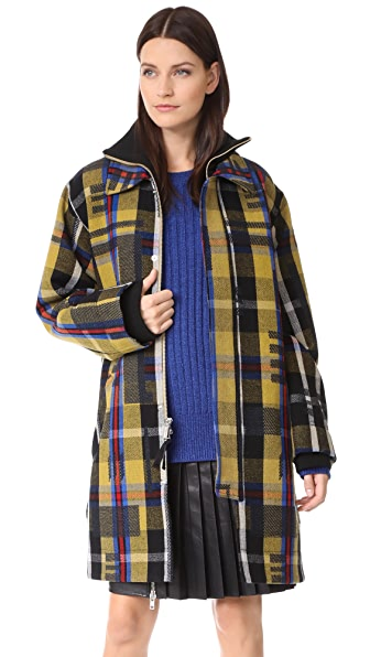 Public School Elanor Coat In Tan Plaid