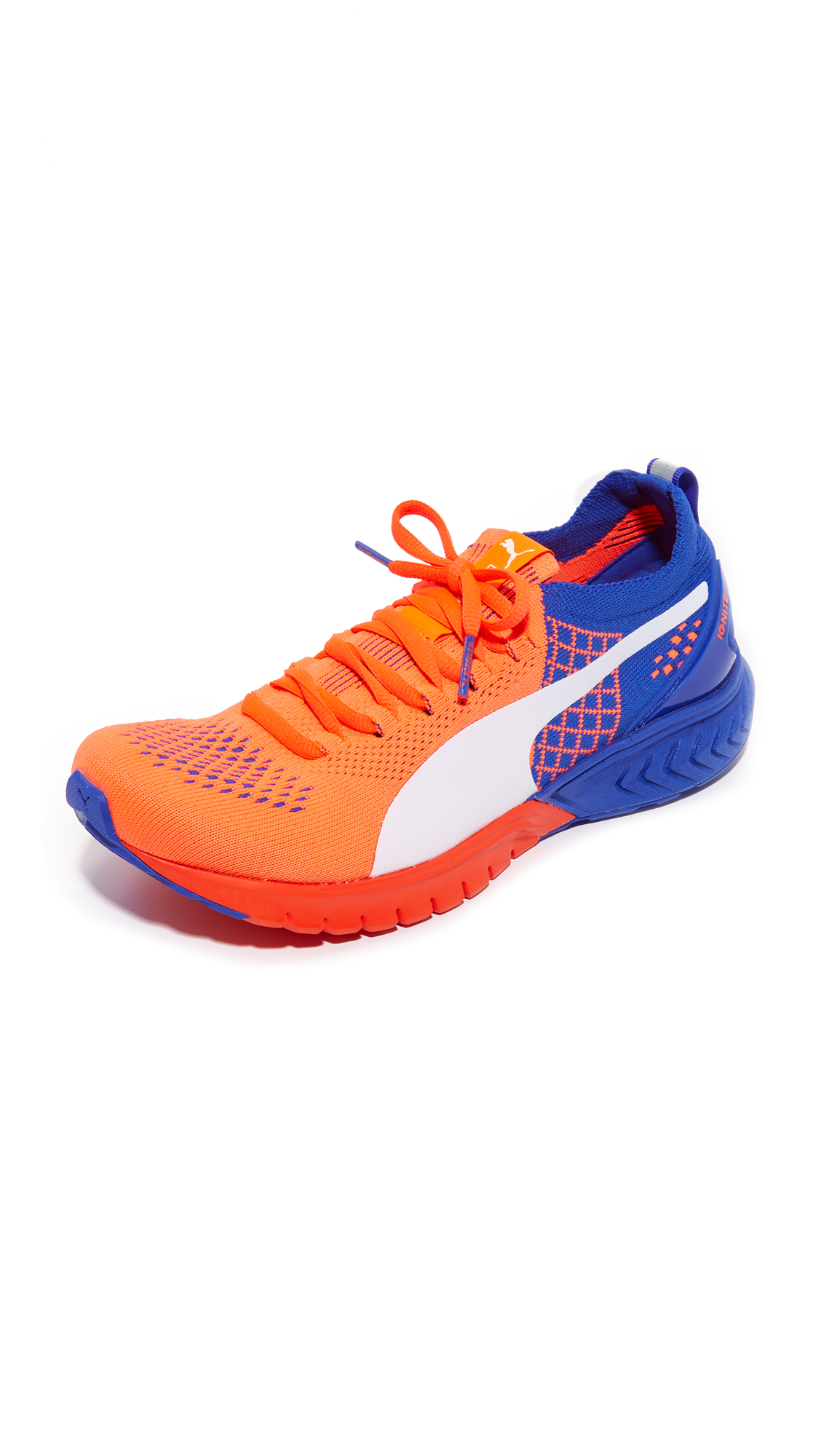 puma female puma ignite dual evoknit sneakers red blastroyal bluewhite