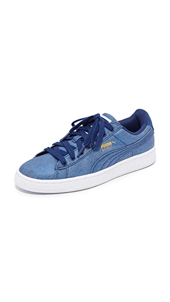 PUMA Basket Denim Sneakers - Twilight Blue