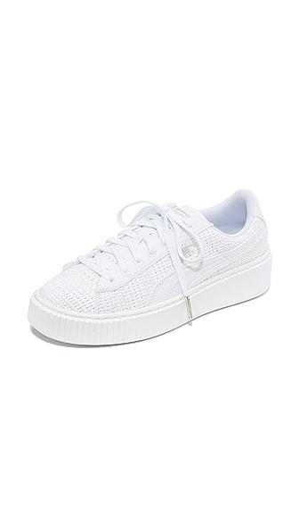PUMA Basket Platform Woven Sneakers - Puma White/Puma Silver