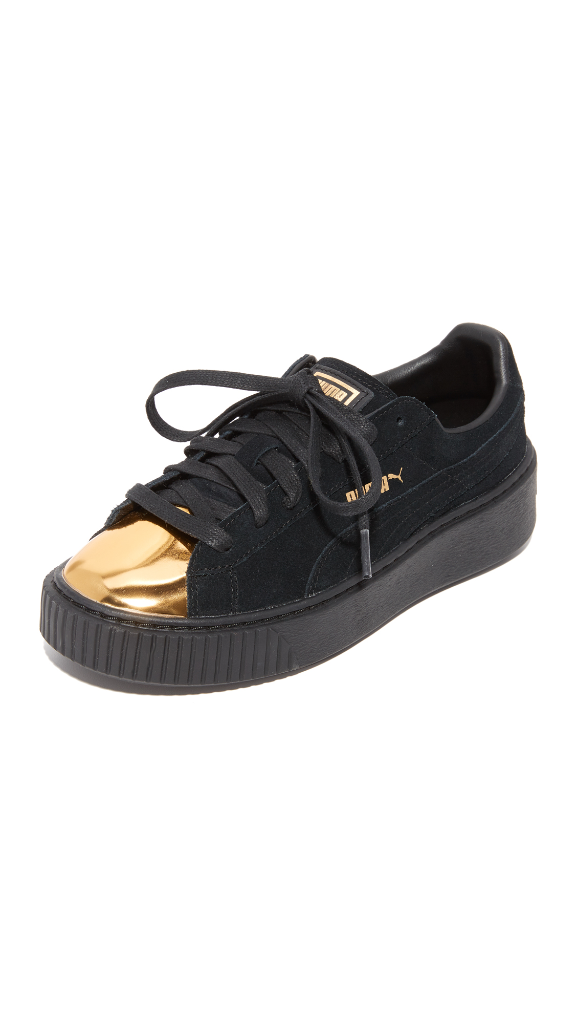 puma female puma creeper sneakers goldpuma blackpuma black