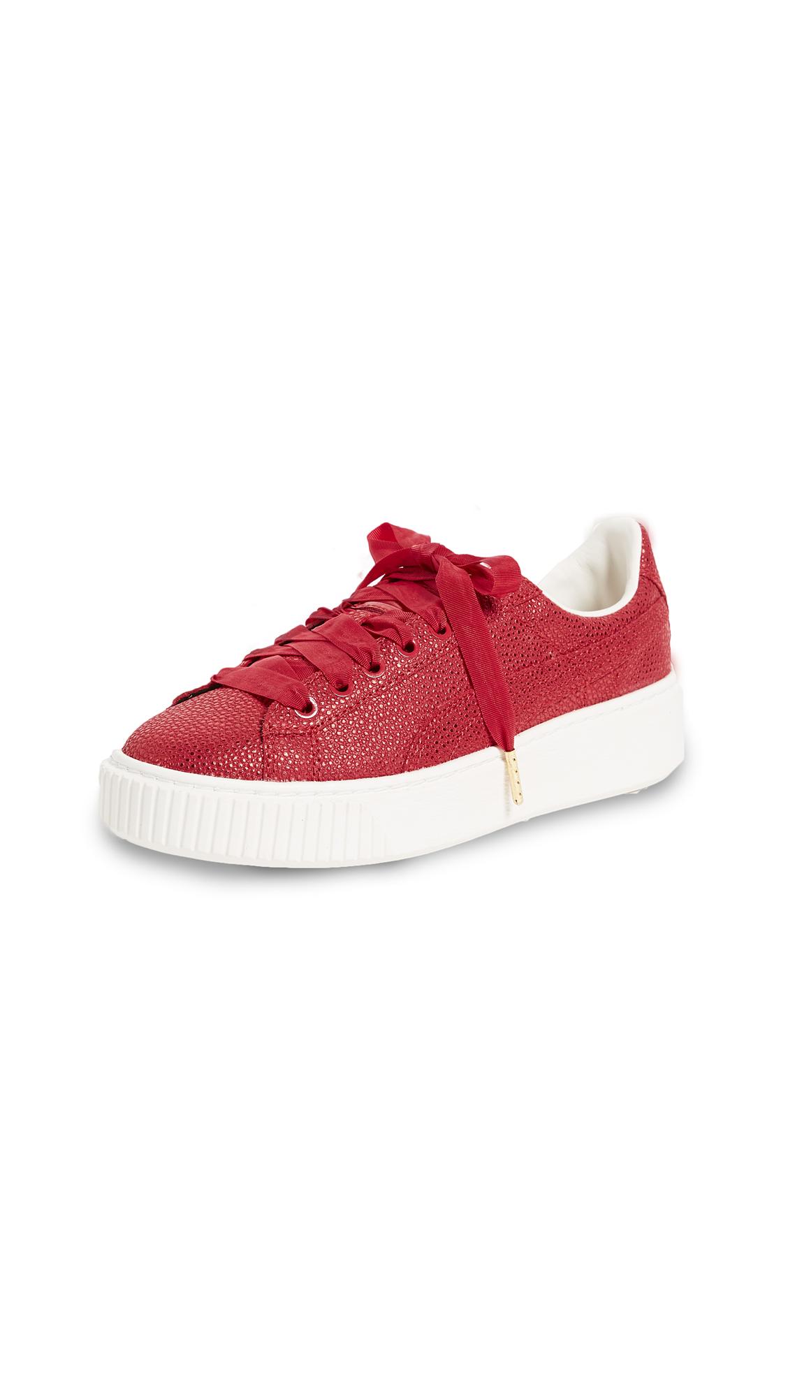 PUMA Basket Platform Lux Sneakers - Red