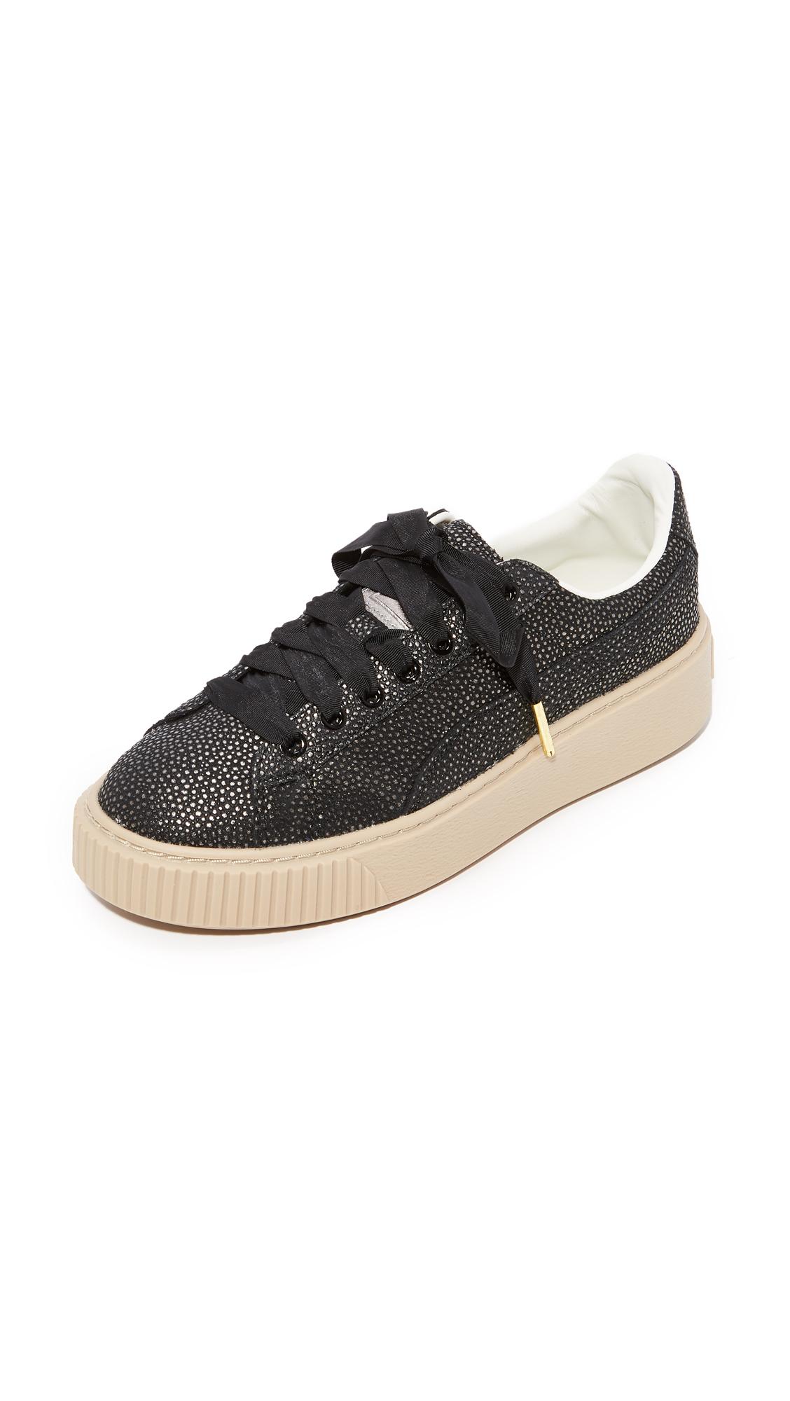 PUMA Basket Platform Lux Sneaker - Black