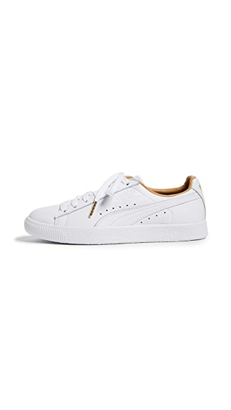 PUMA Clyde Core Leather Sneakers In White