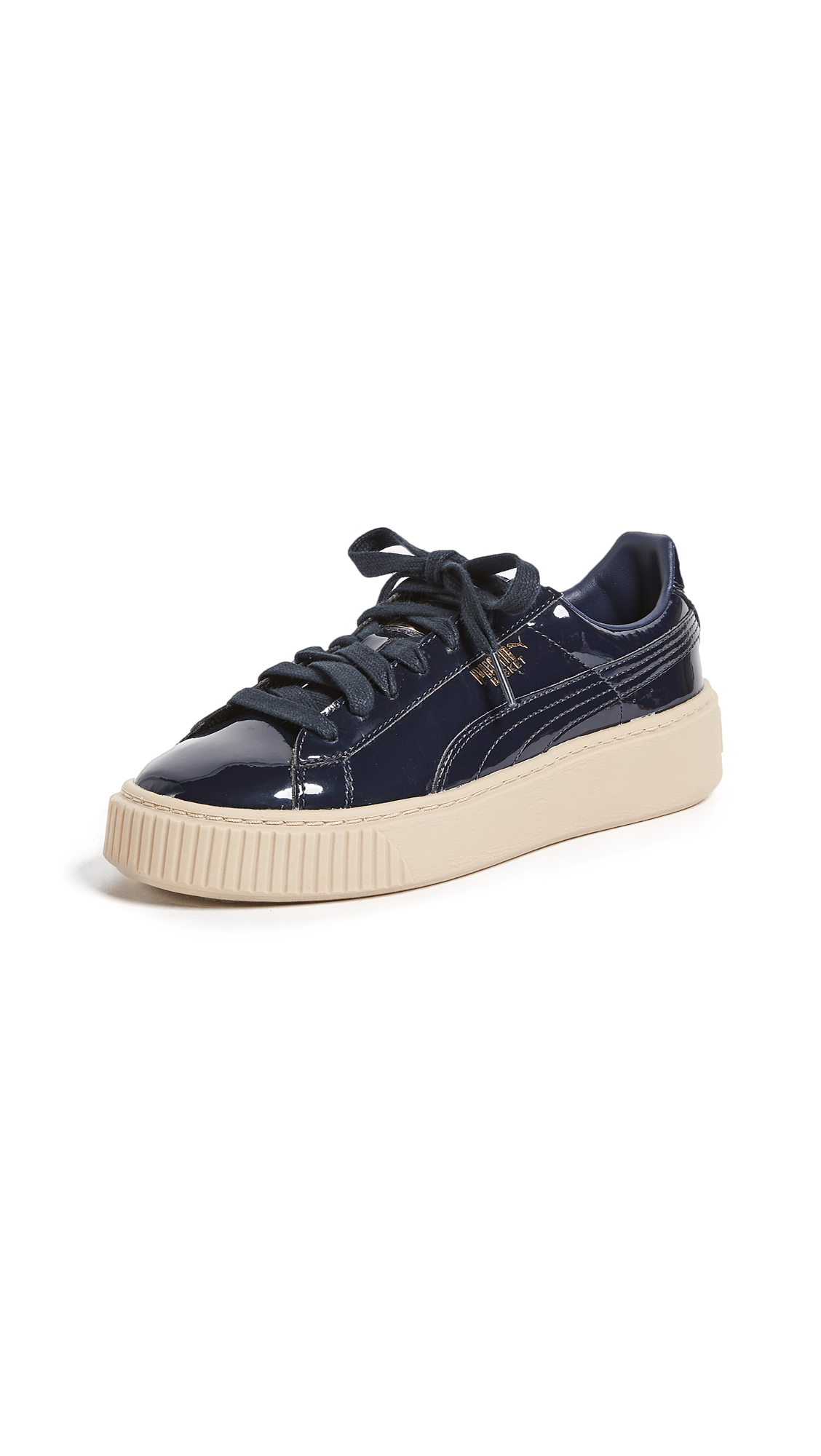 PUMA Basket Platform Patent Sneakers - Navy