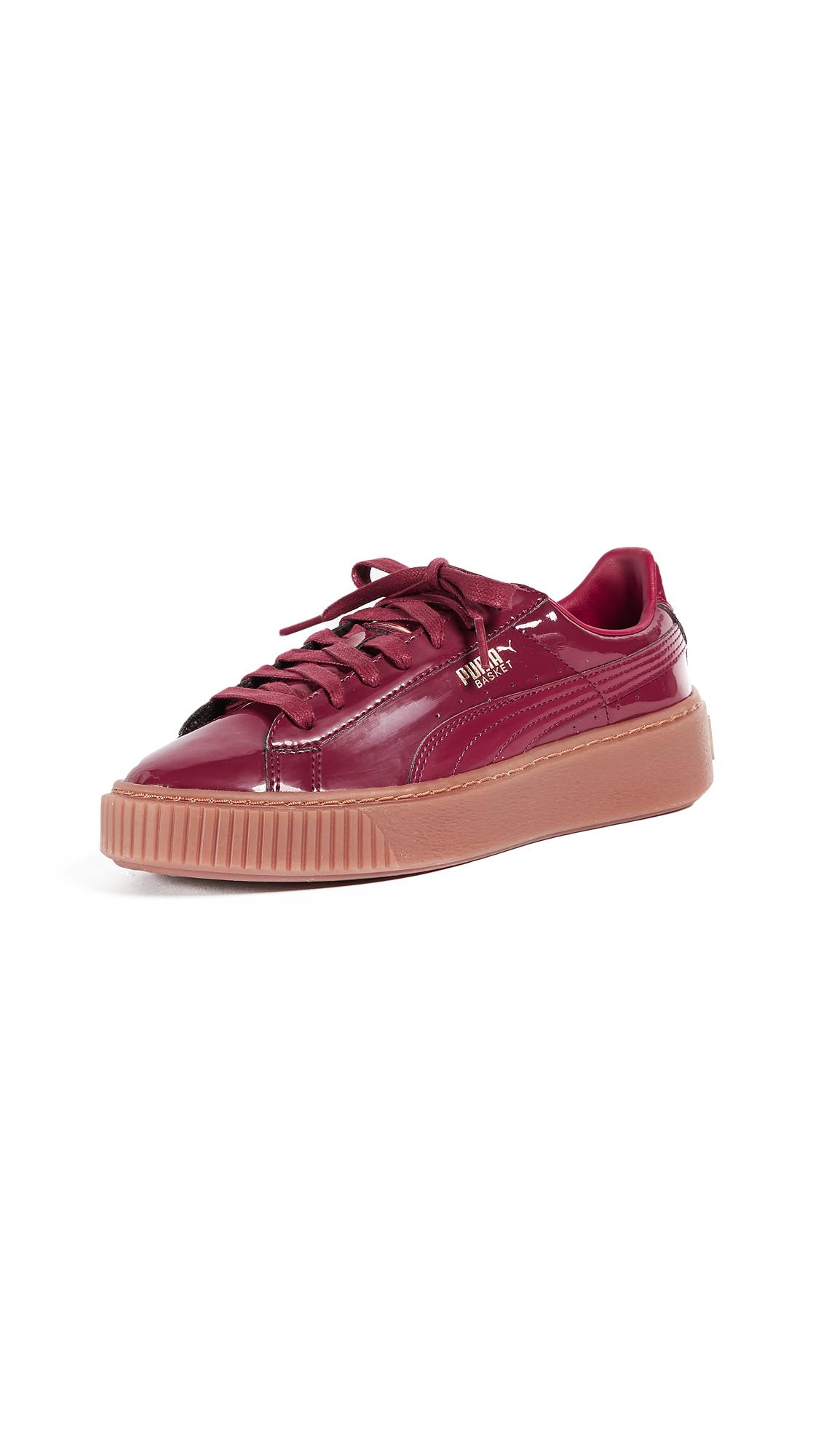 PUMA Basket Platform Patent Sneakers - Burgundy