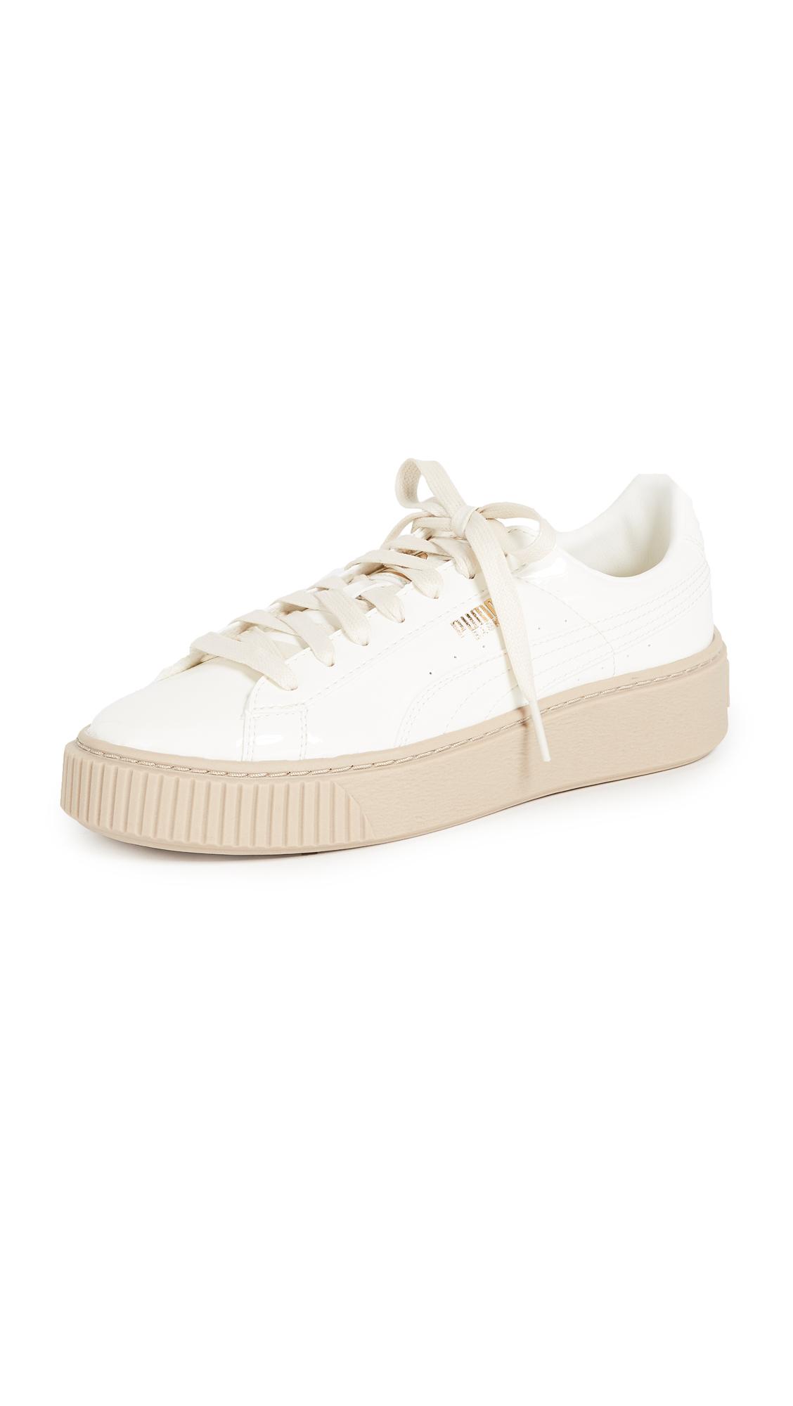 PUMA Basket Platform Patent Sneakers - White