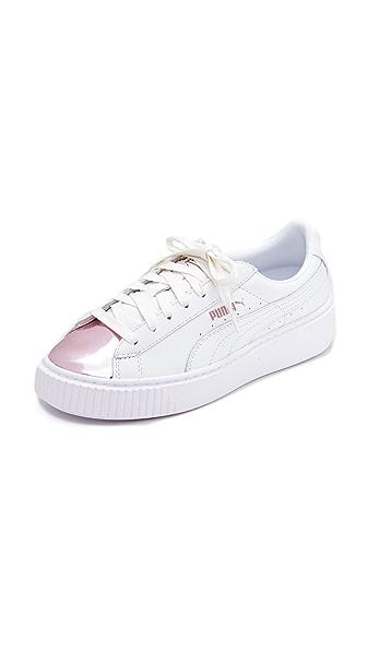 PUMA Basket Platform Metallic Sneakers - White/Pink Metallic