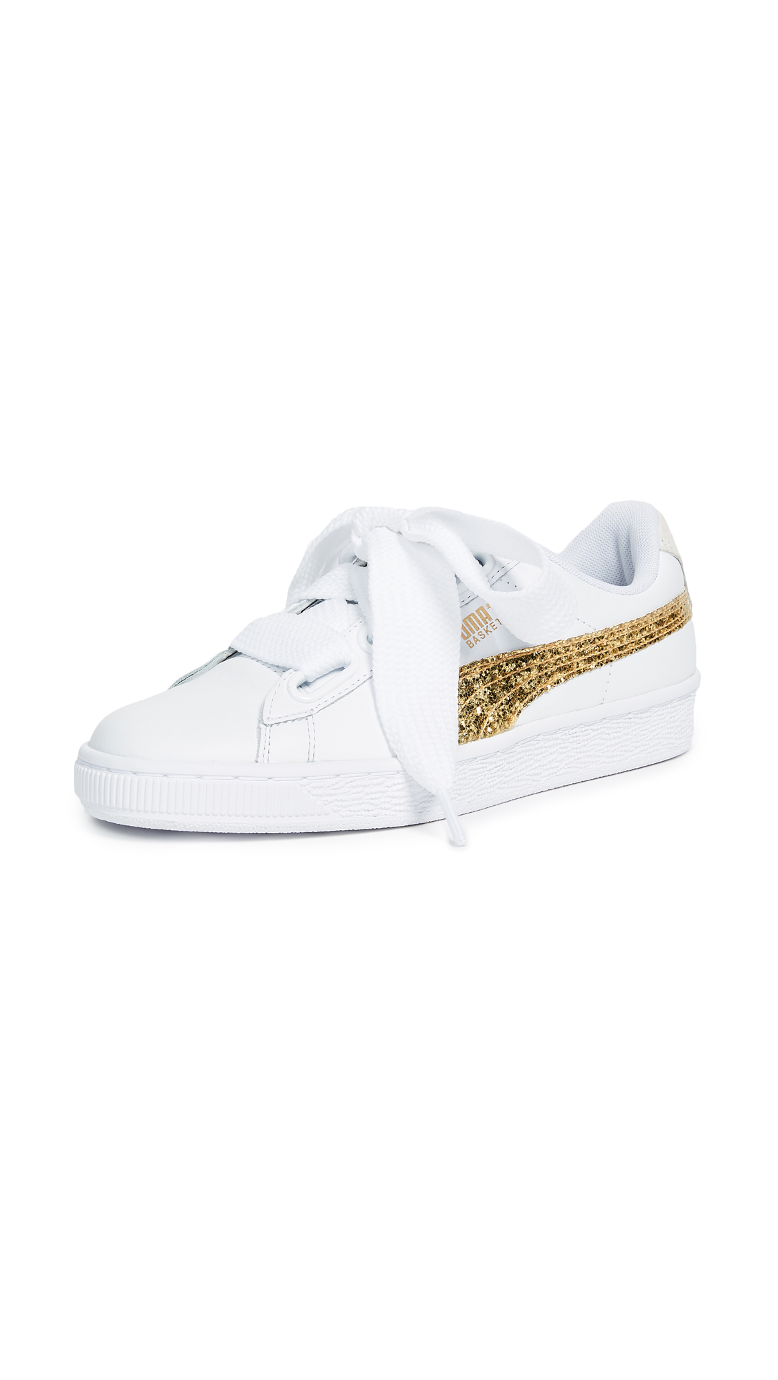 PUMA Basket Heart Glitter Sneakers - Puma White/Gold