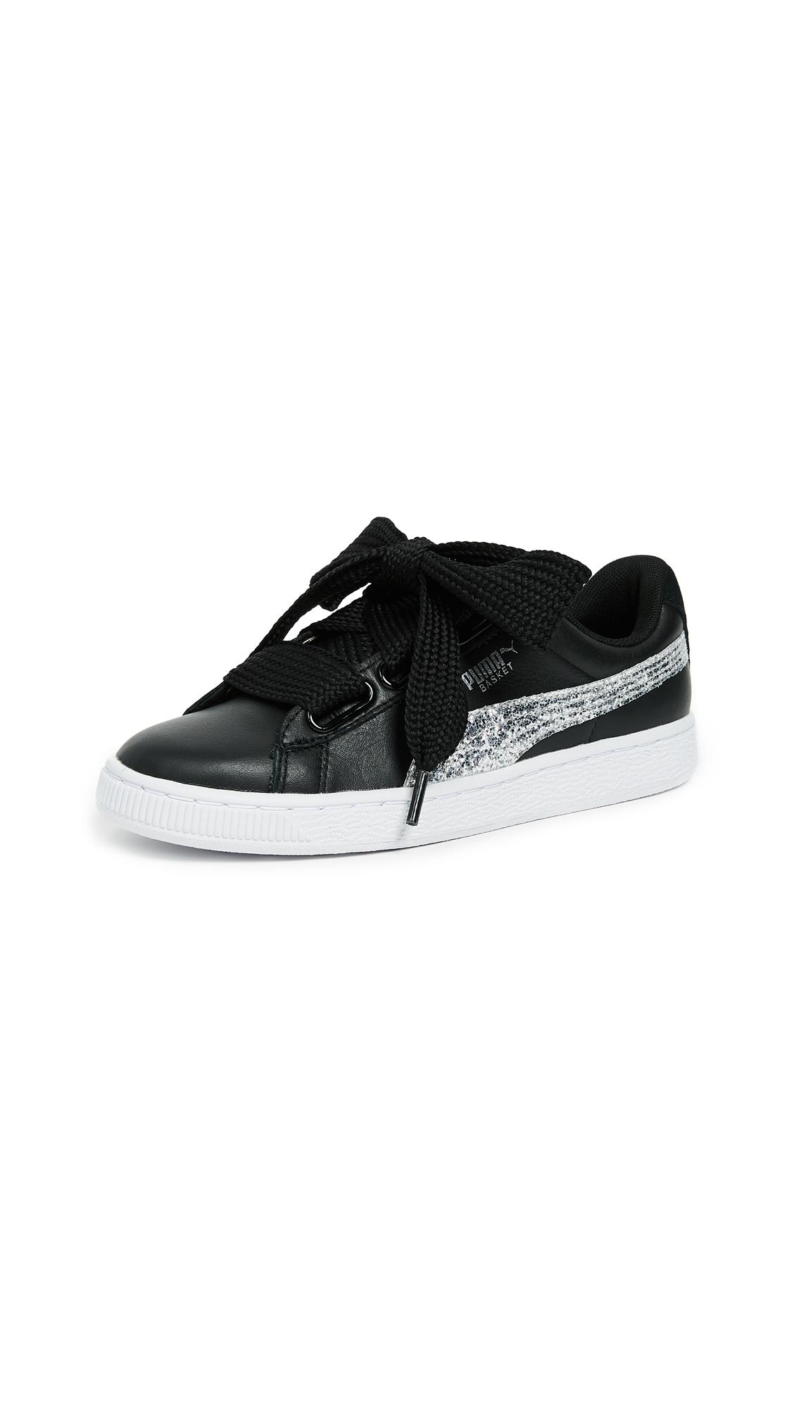 PUMA Basket Heart Glitter Sneakers - Puma Black/Silver