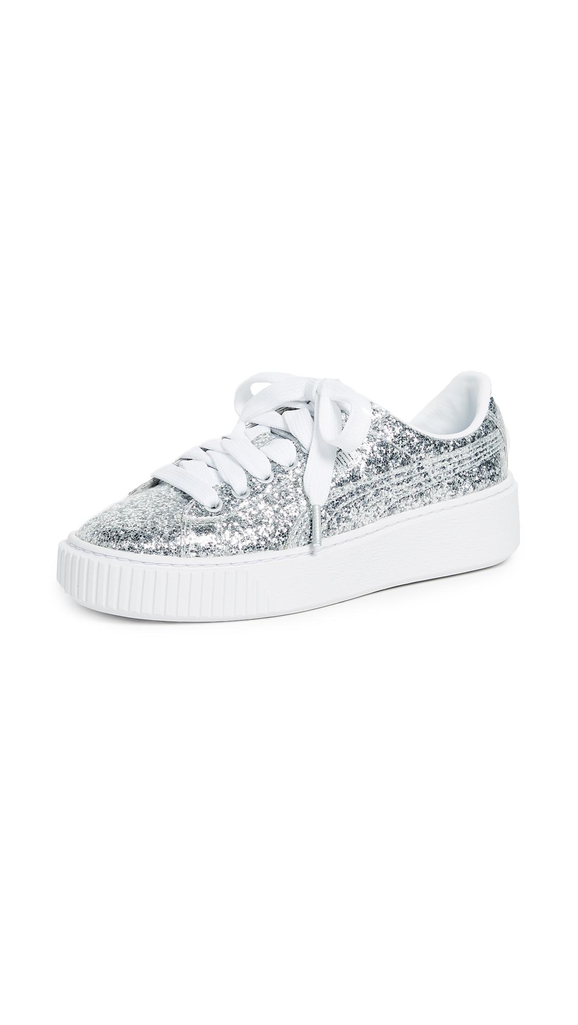PUMA Basket Platform Glitter Sneakers - Silver/Silver