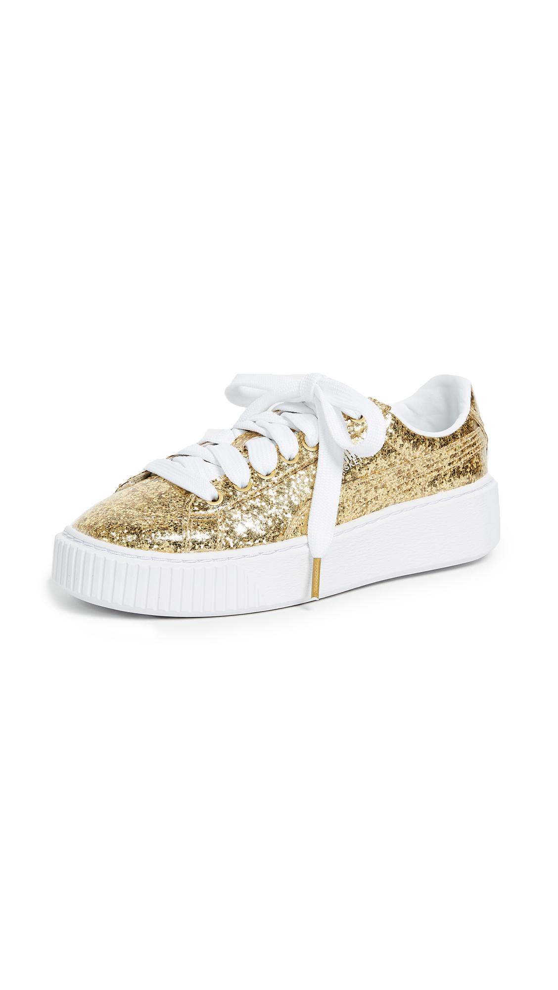 PUMA Basket Platform Glitter Sneakers - Gold/Gold