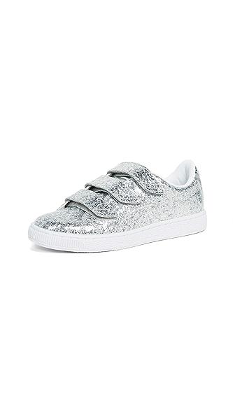 PUMA Basket Strap Glitter Sneakers In Silver/Silver