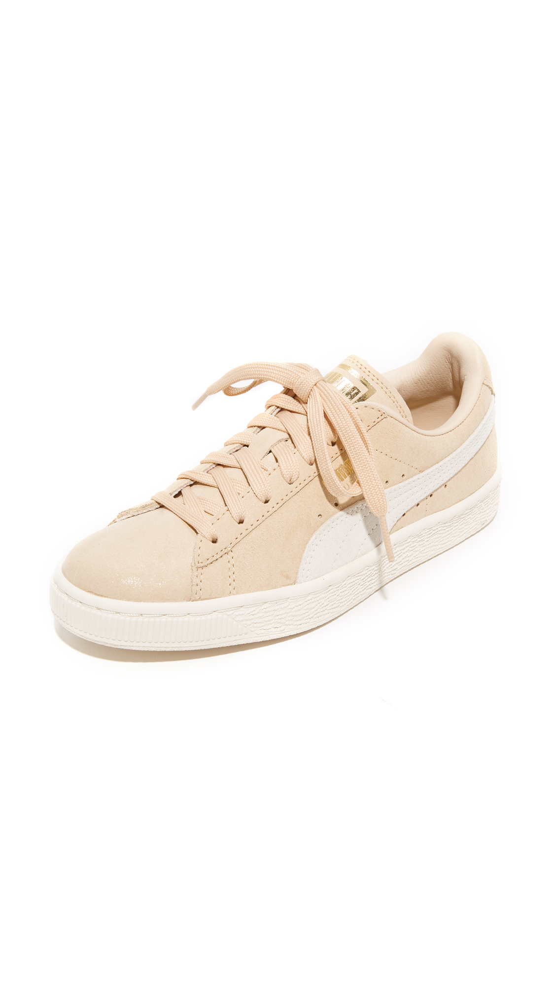 PUMA Suede Classic Shine Sneakers - Natural/Whisper White/Gold