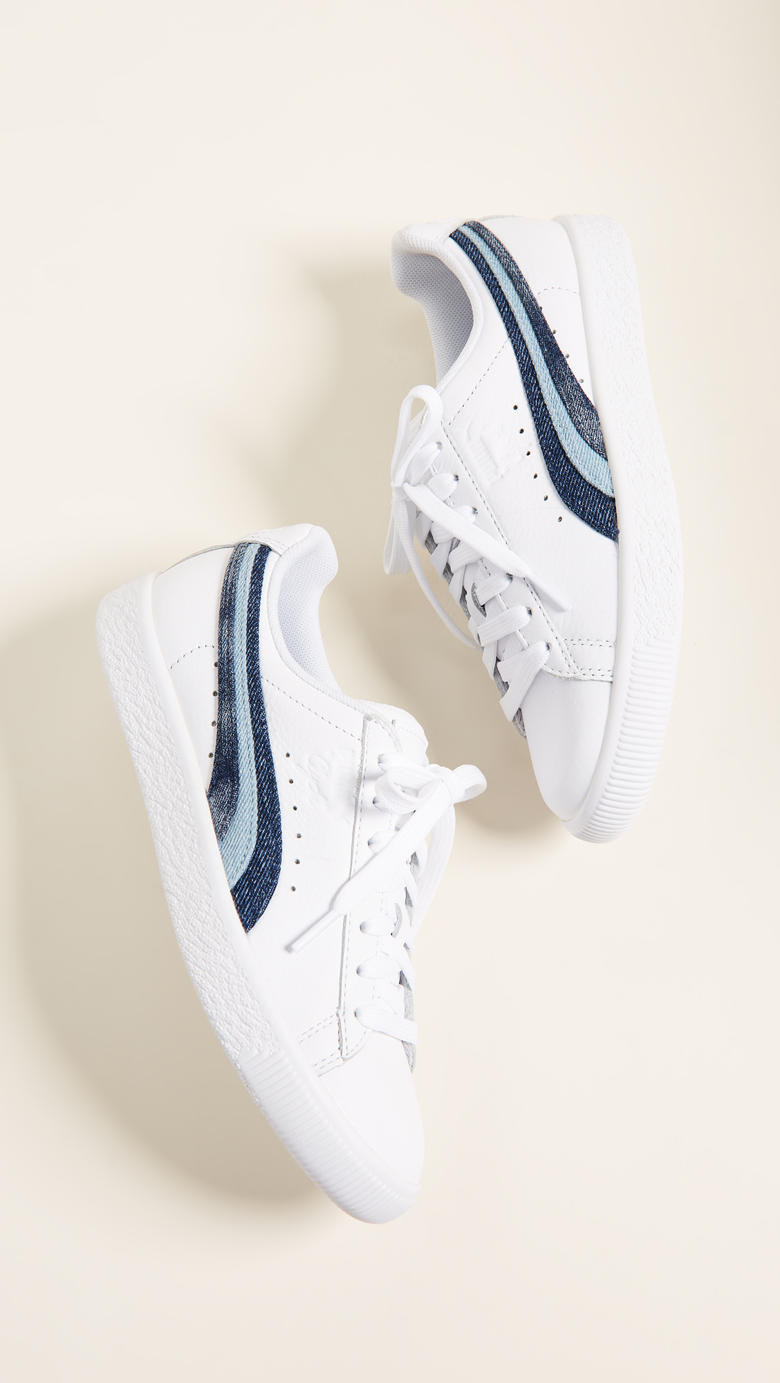 3be747fc32b8 PUMA Clyde Denim Leather Sneakers