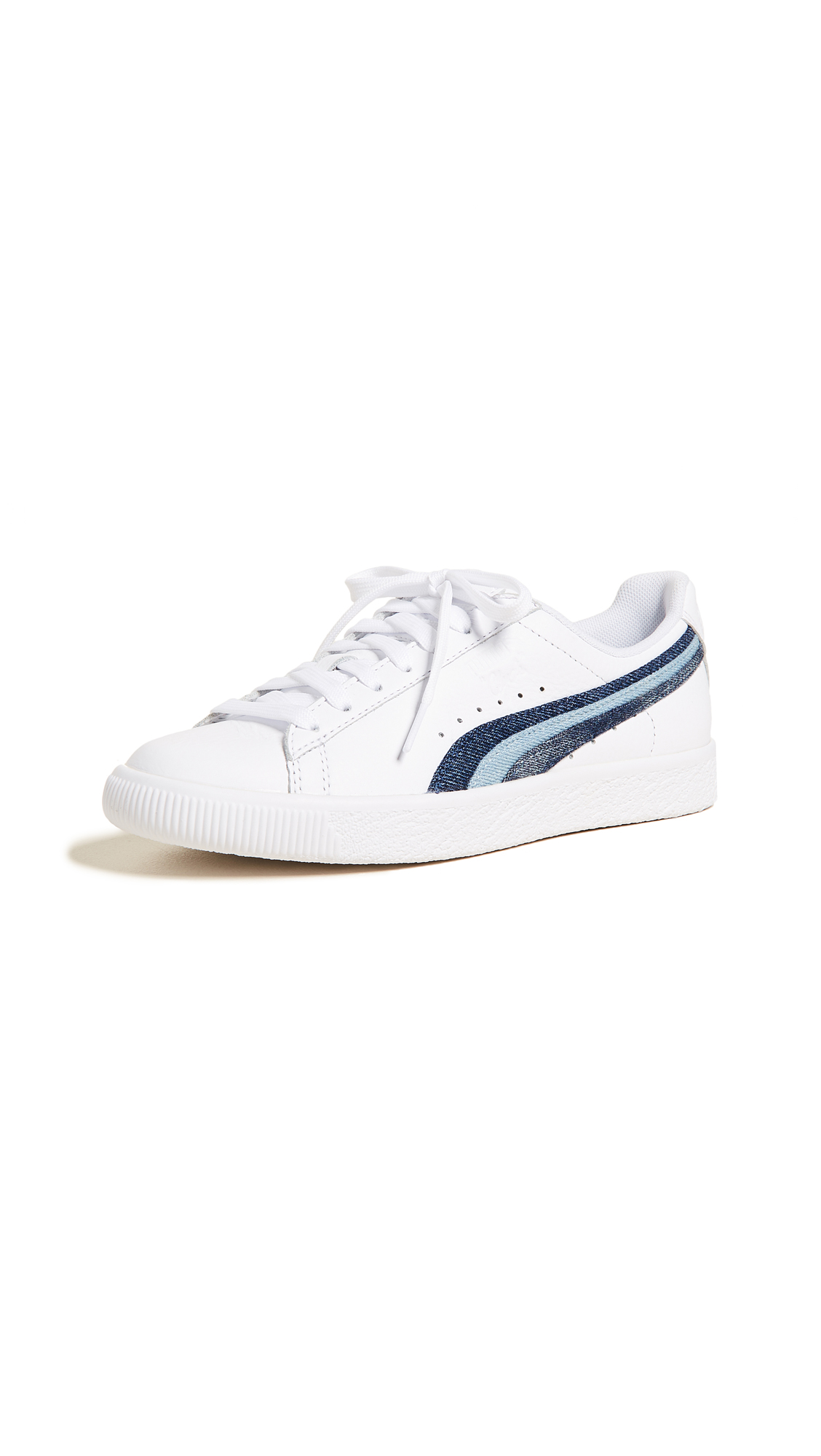 PUMA Clyde Denim Leather Sneakers - Puma White