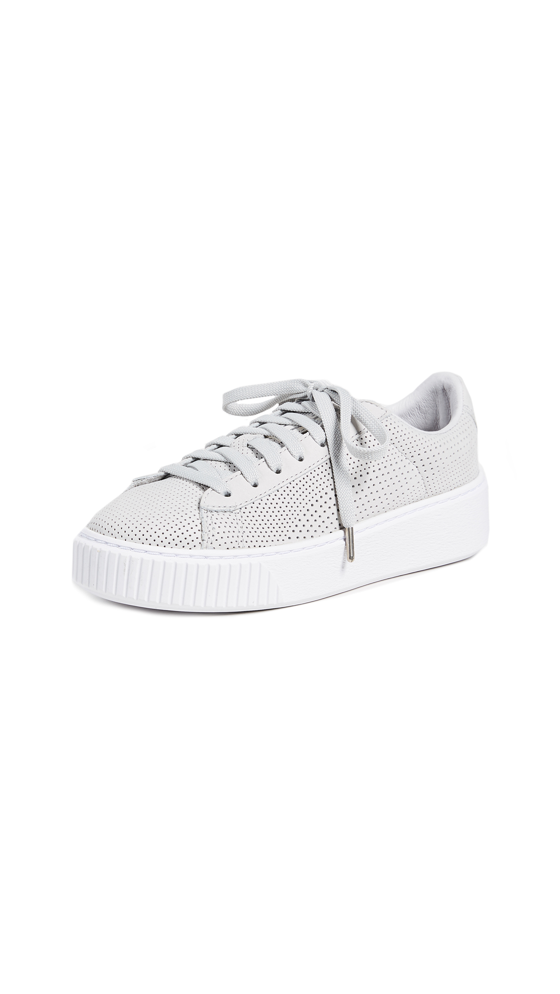 PUMA Basket Platform Perforated Sneakers - Grey Violet/Puma Silver