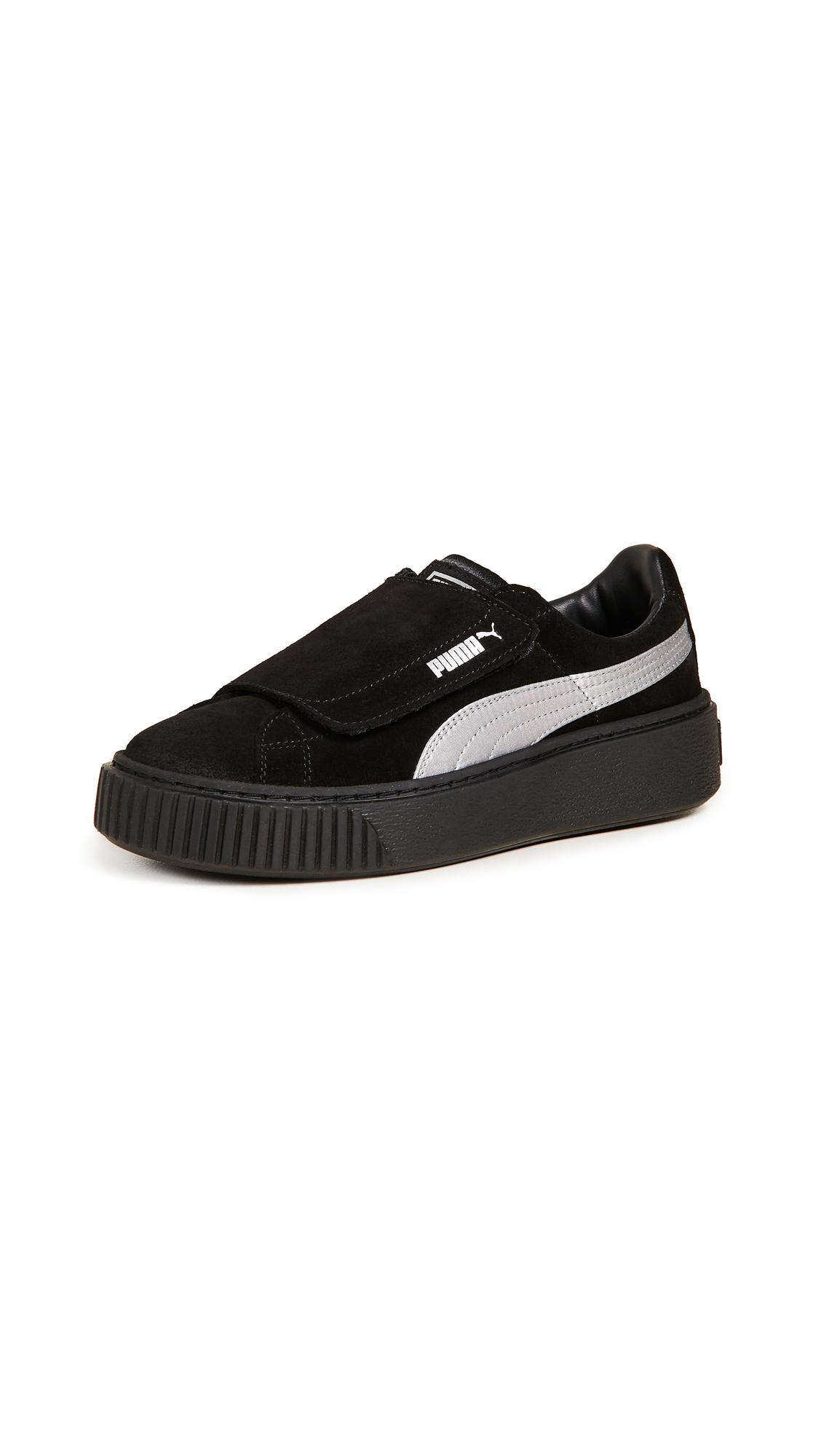 PUMA Platform Strap Satin EP Sneakers - Puma Black/Puma Black