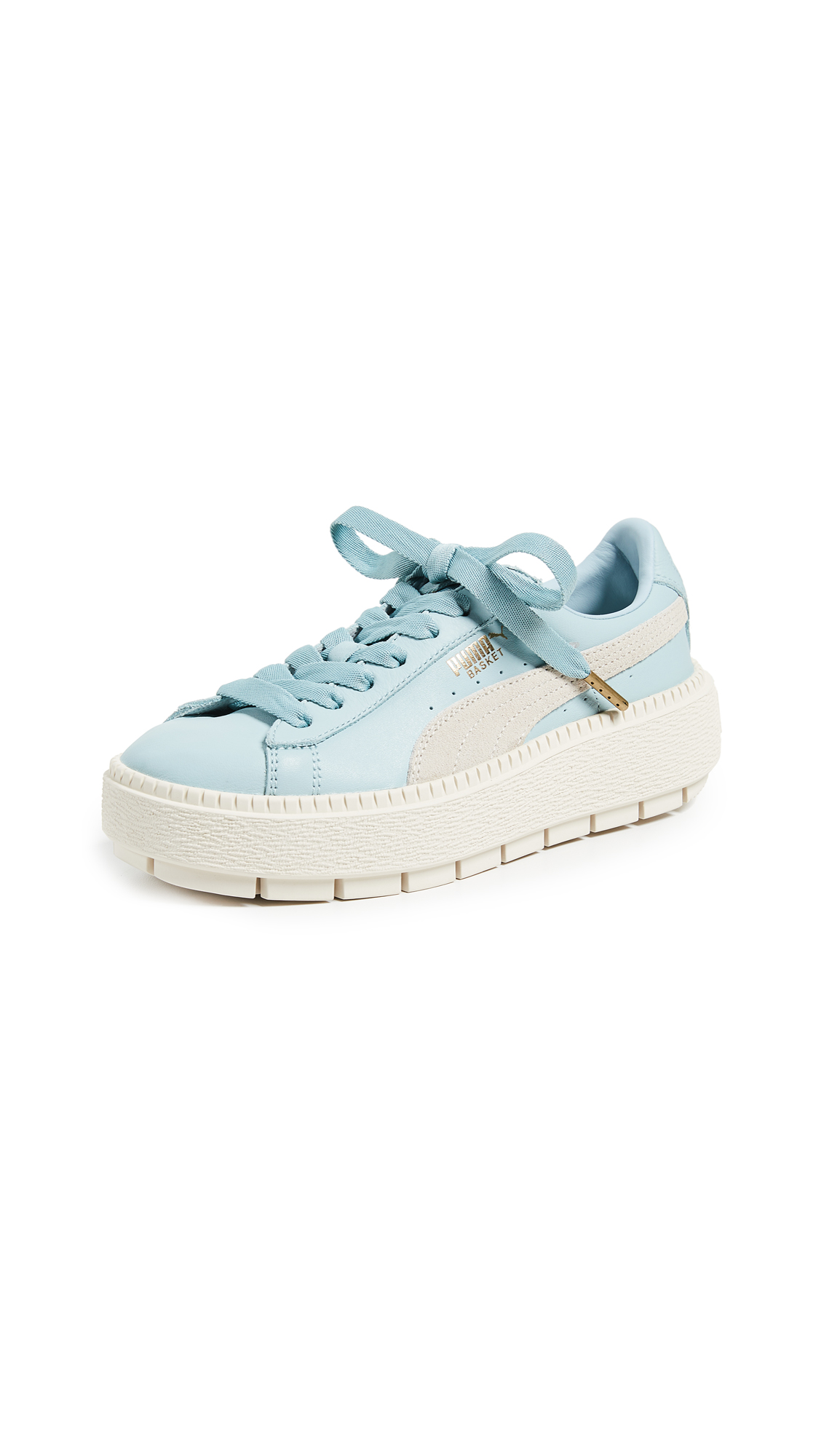 PUMA Basket Platform Trace Block Sneakers - Sterling Blue/Vanilla Ice