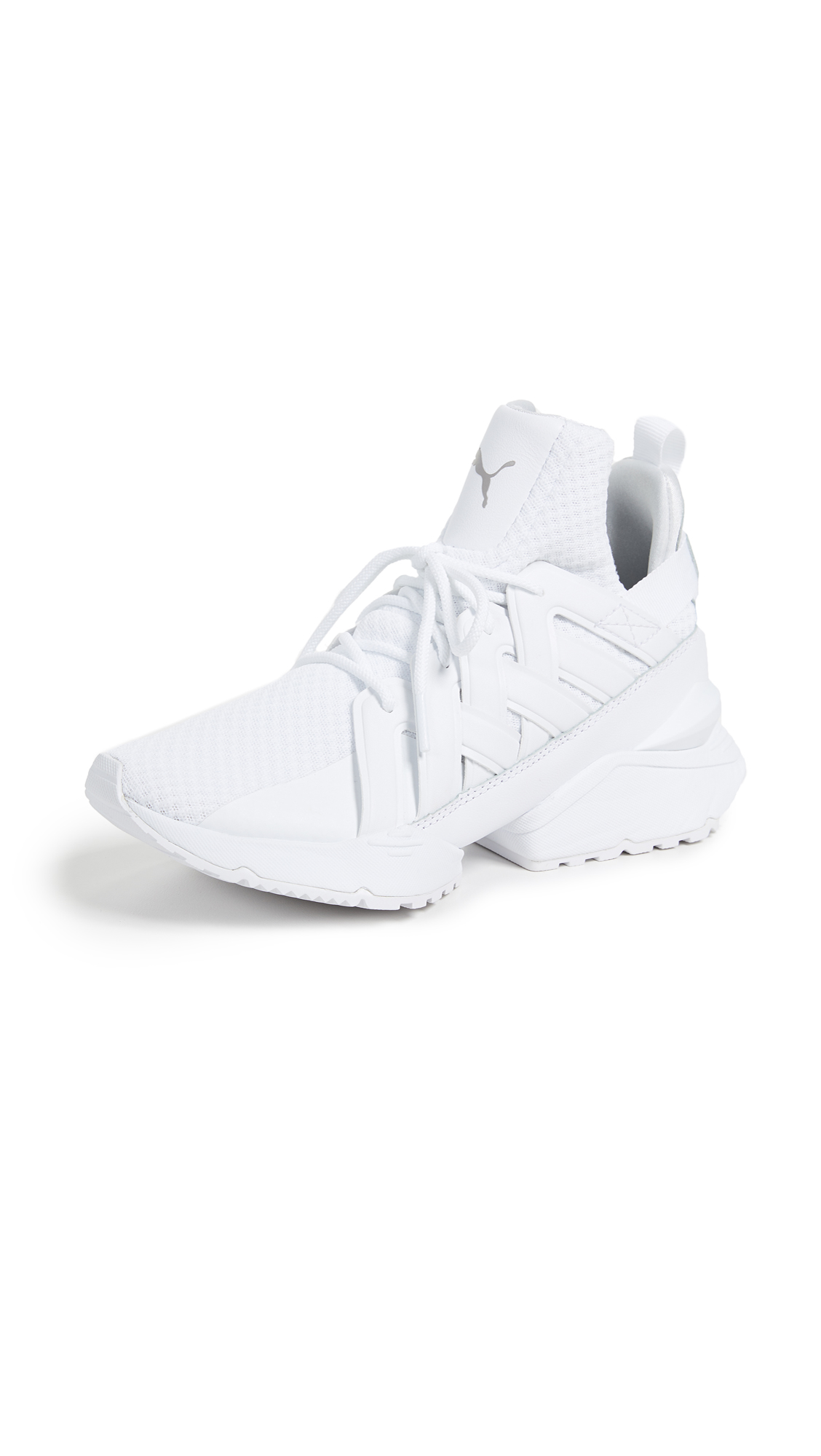 Muse White Eco-Satin Sneakers, Puma White/Puma White