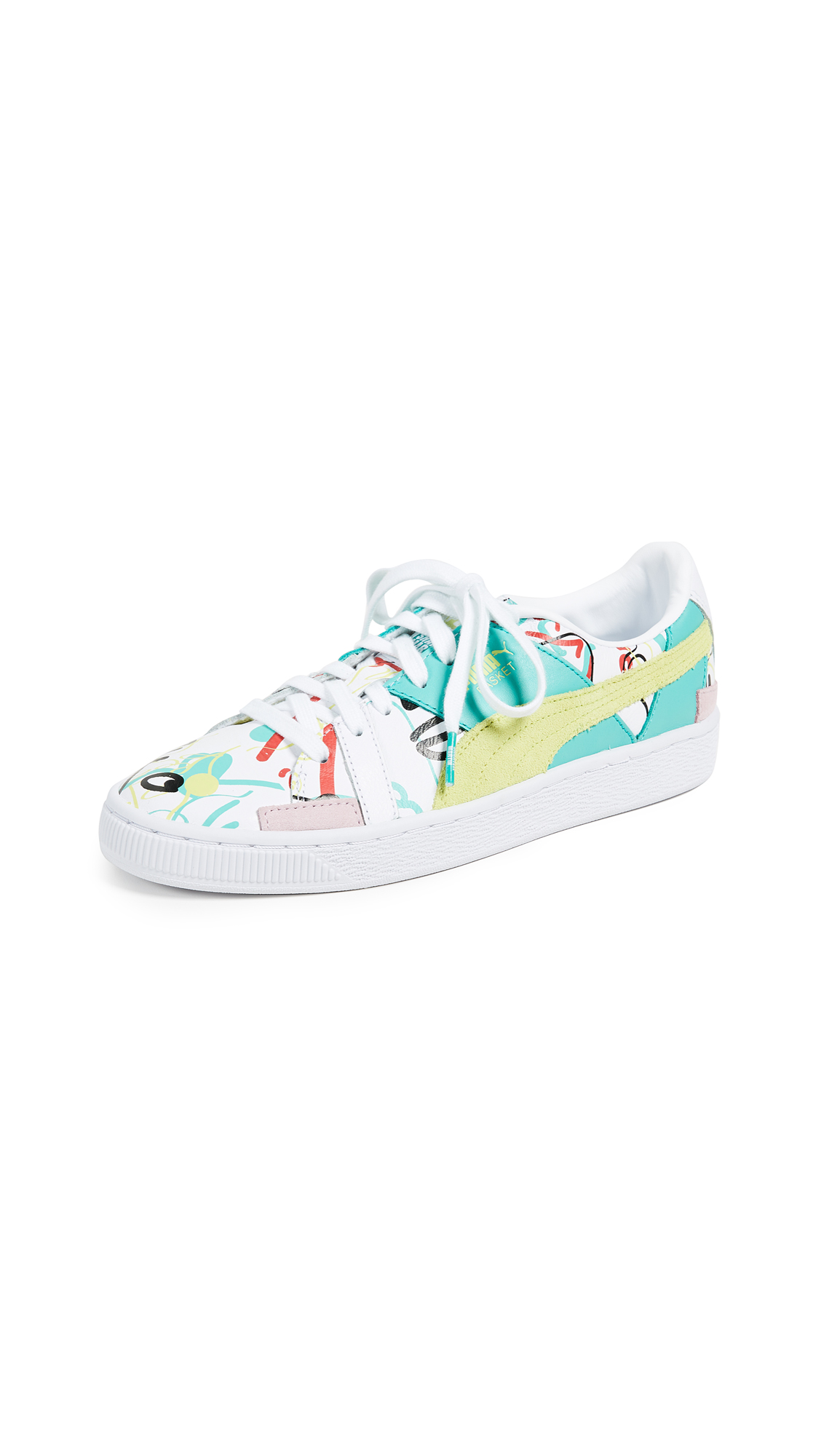 PUMA Basket Graphic SM Sneakers - Puma White/Sunny Lime