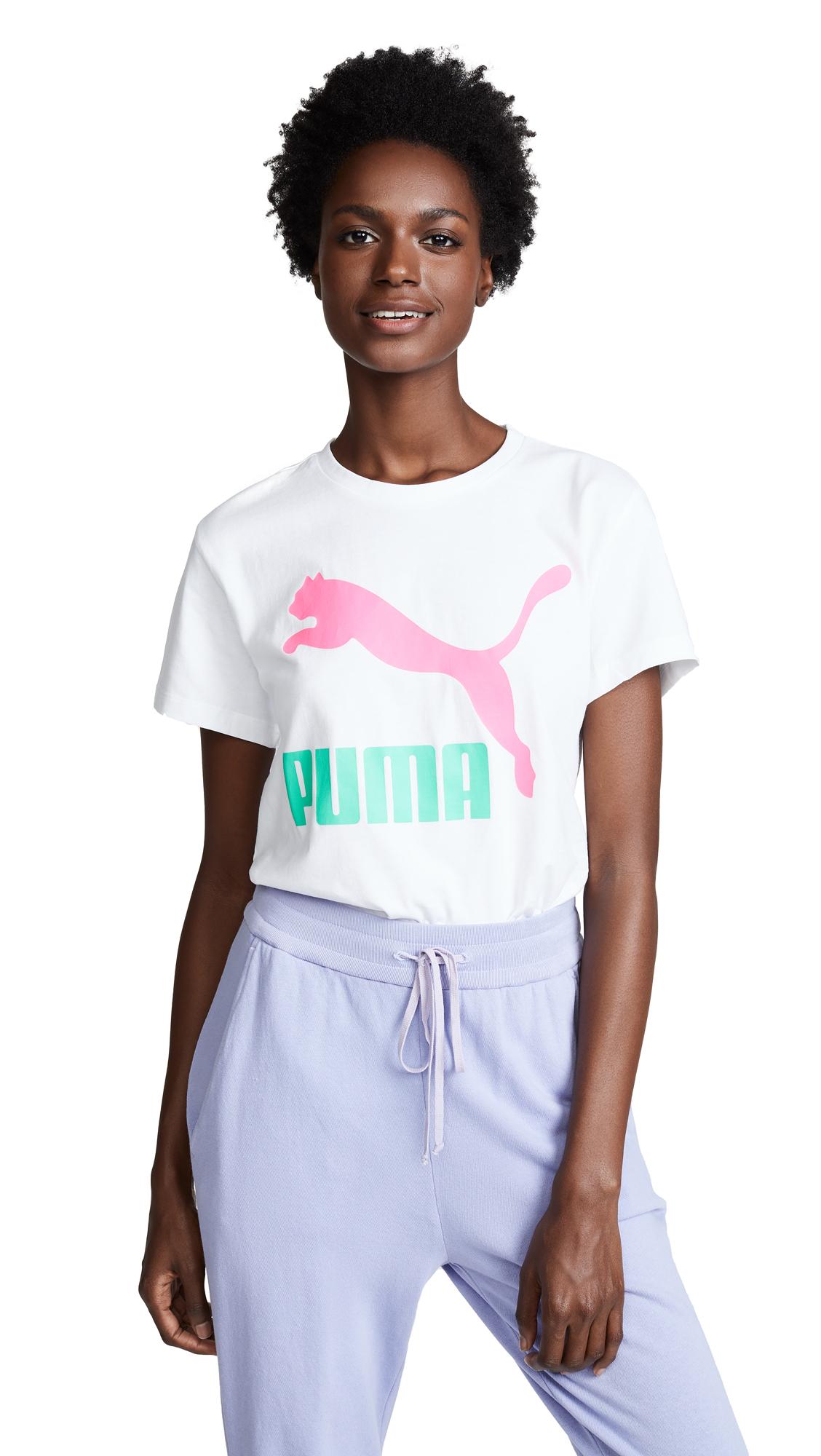 PUMA PUMA Classics Logo Tee - Puma White/Pink