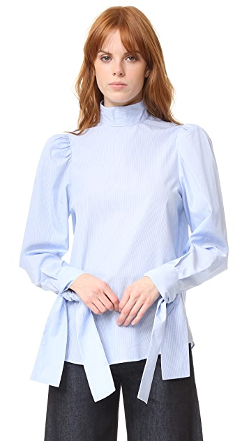 pushBUTTON Tie Cuff Blouse
