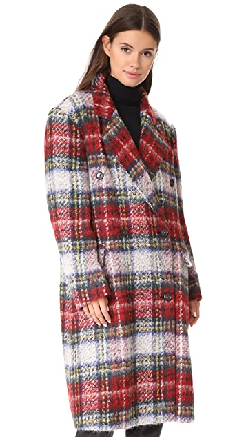 pushBUTTON Long Plaid Coat
