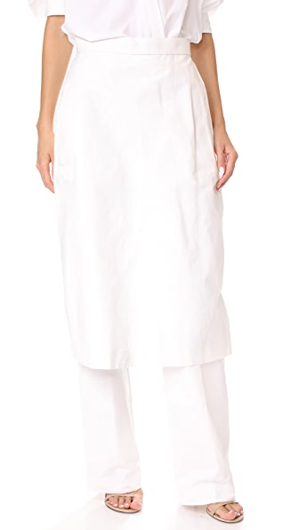 pushBUTTON Pants with Skirt Overlay - White