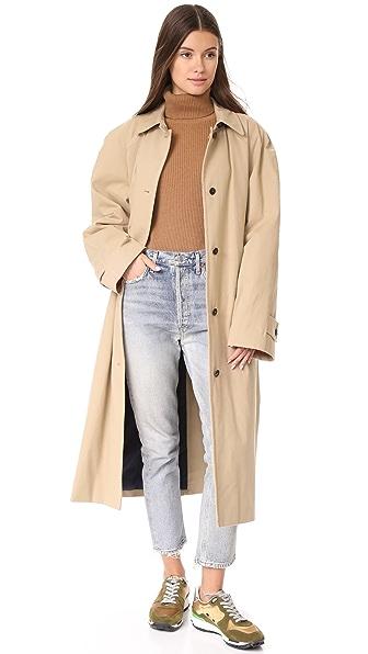pushBUTTON Reversible Long Colorblock Coat In Beige