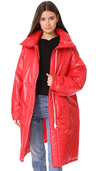 pushBUTTON Long Puffer Jacket - Red