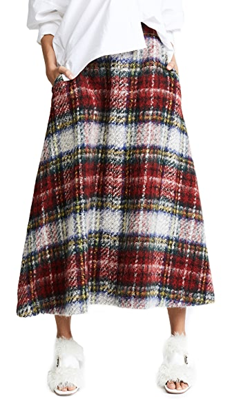 pushBUTTON Plaid Midi Skirt In Red/Black/Blue
