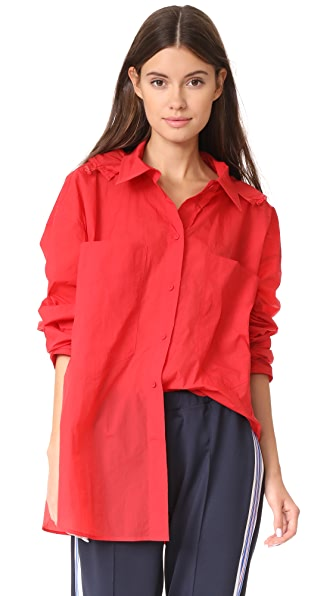 pushBUTTON Hooded Button Down Blouse