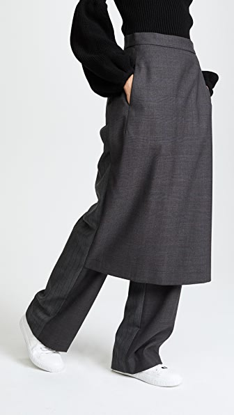 pushBUTTON Pants with Skirt Overlay - Grey