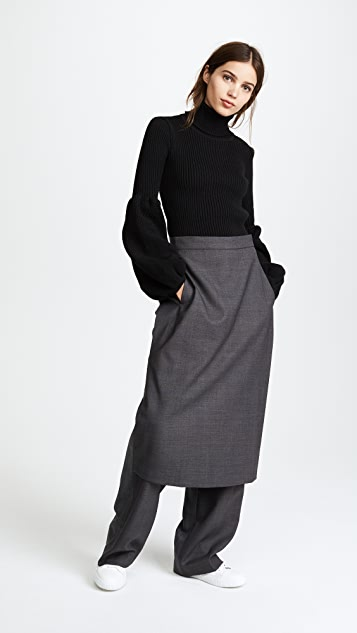 pushBUTTON Pants with Skirt Overlay