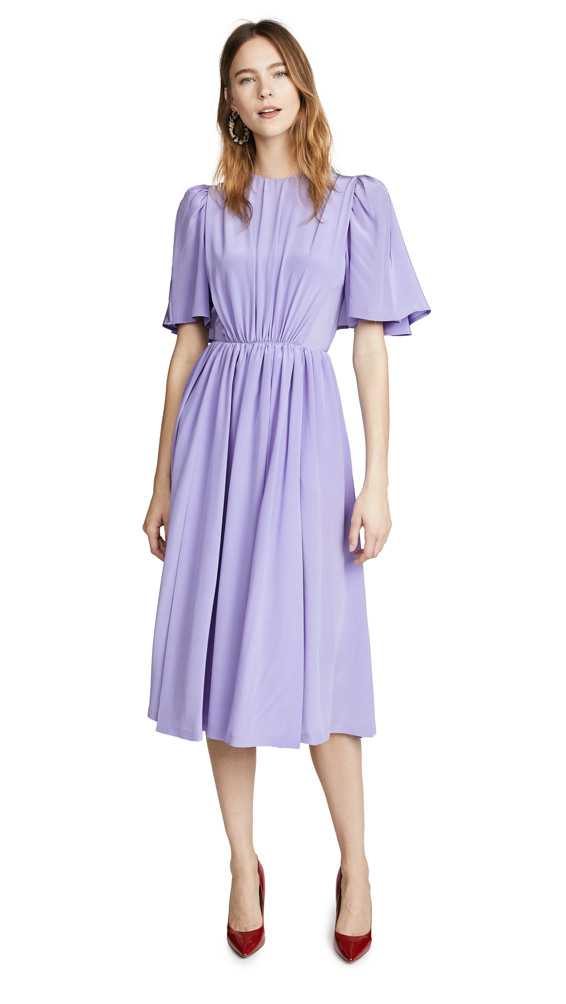 Pushbutton MIDI DRESS WITH FLUTTER SLEEVES