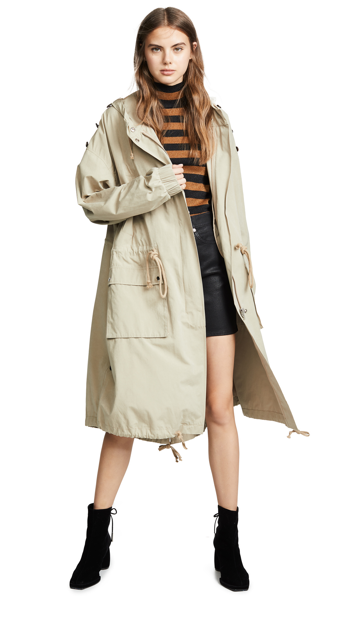 pushBUTTON Hooded Khaki Trench In Khaki