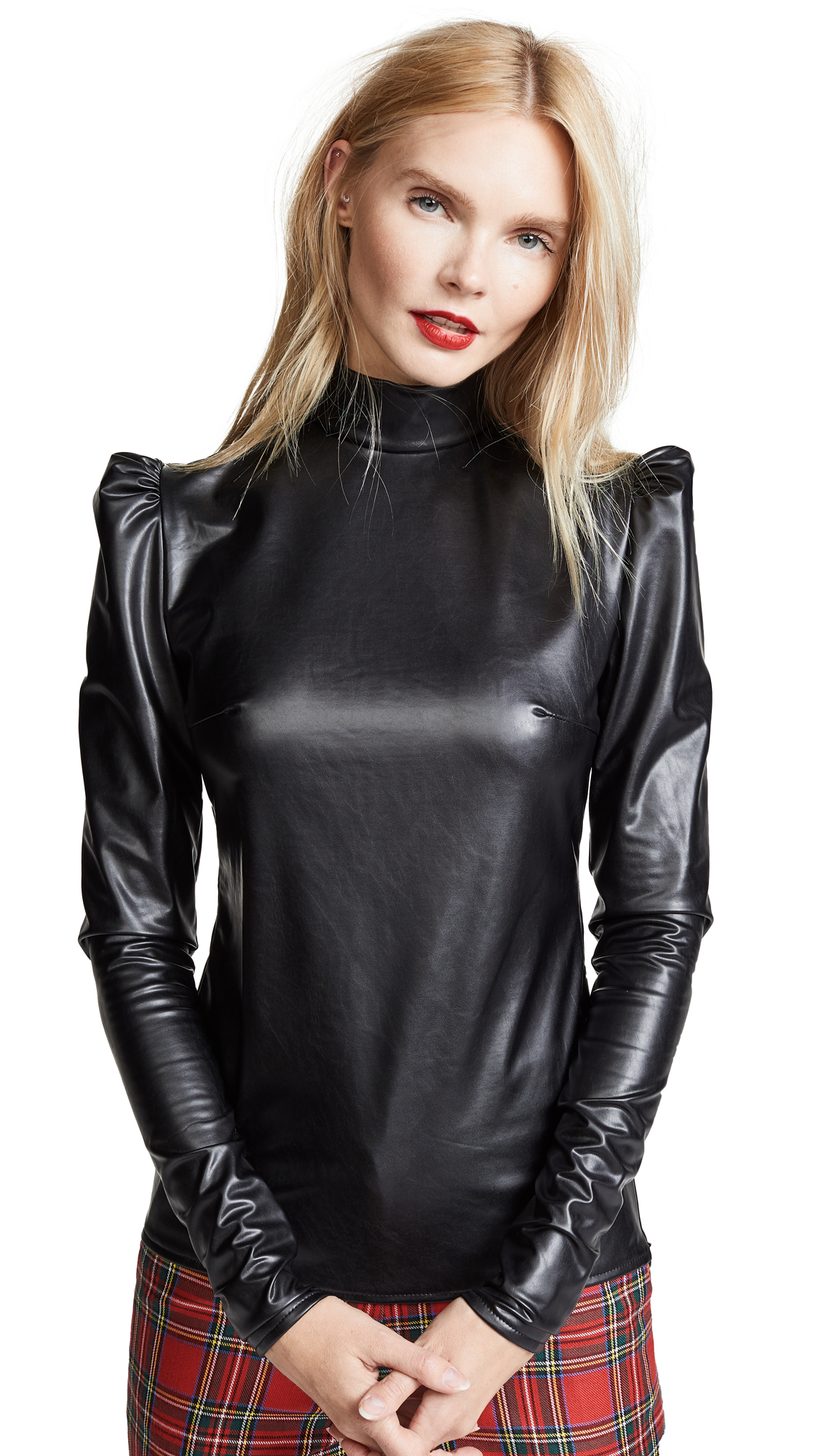 pushBUTTON Turtleneck Faux Leather Top In Black