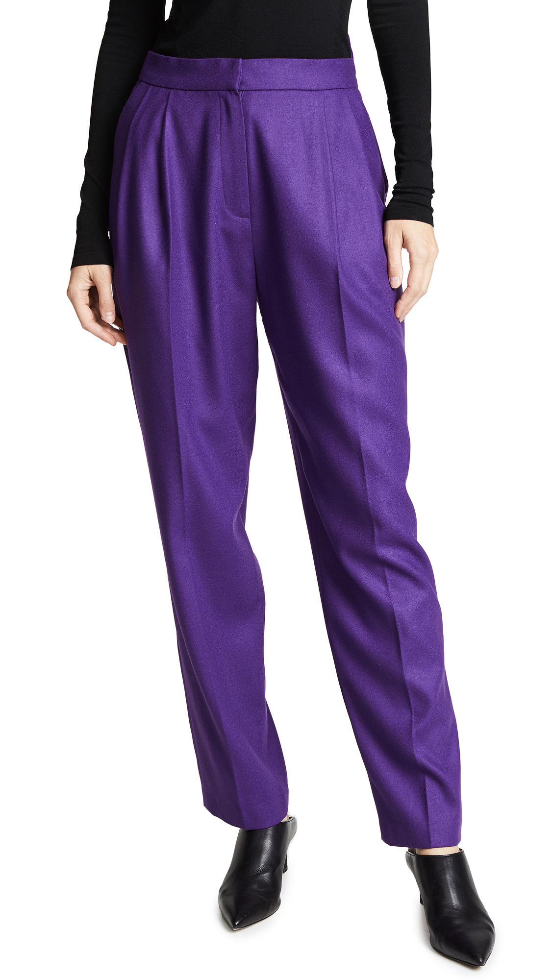pushBUTTON High Waisted Trousers In Purple