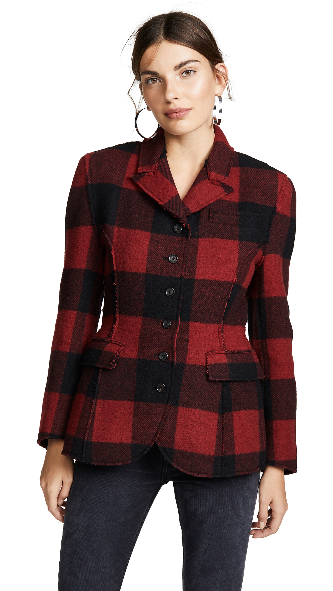 PUSHBUTTON Plaid Combo Blazer in Red Check