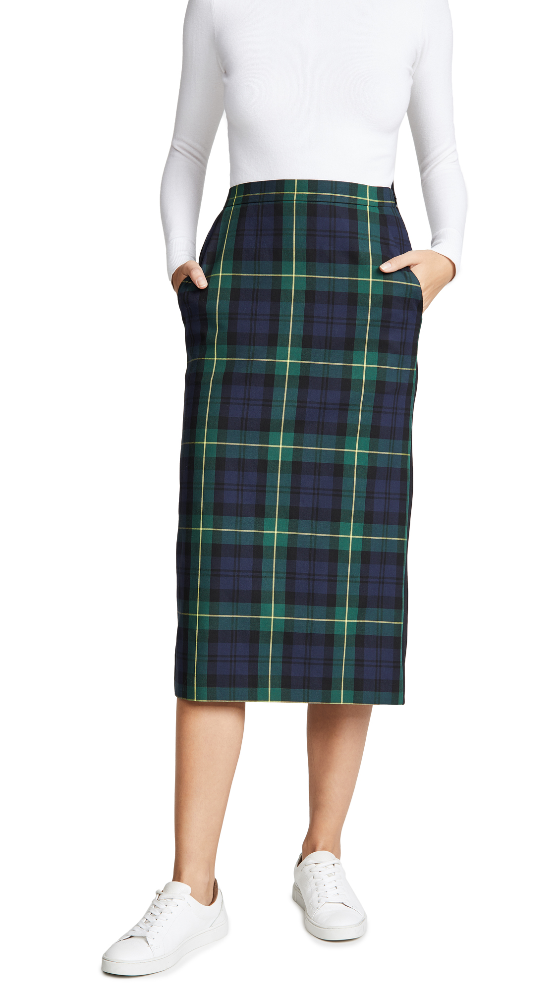 pushBUTTON Plaid Combo Midi Skirt In Green Check
