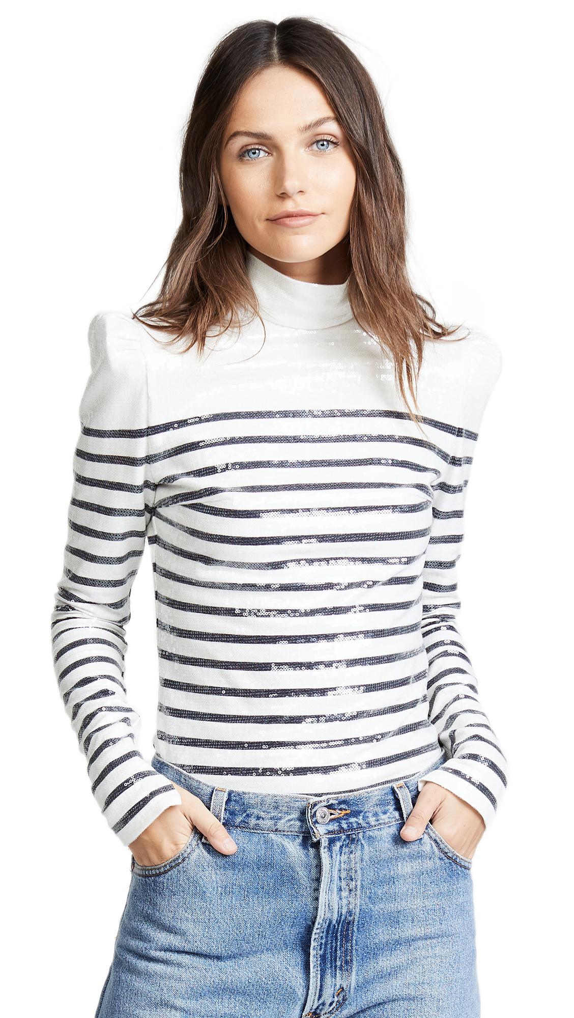 PUSHBUTTON Sequin Collared Stripe Top in Black/White Stripe