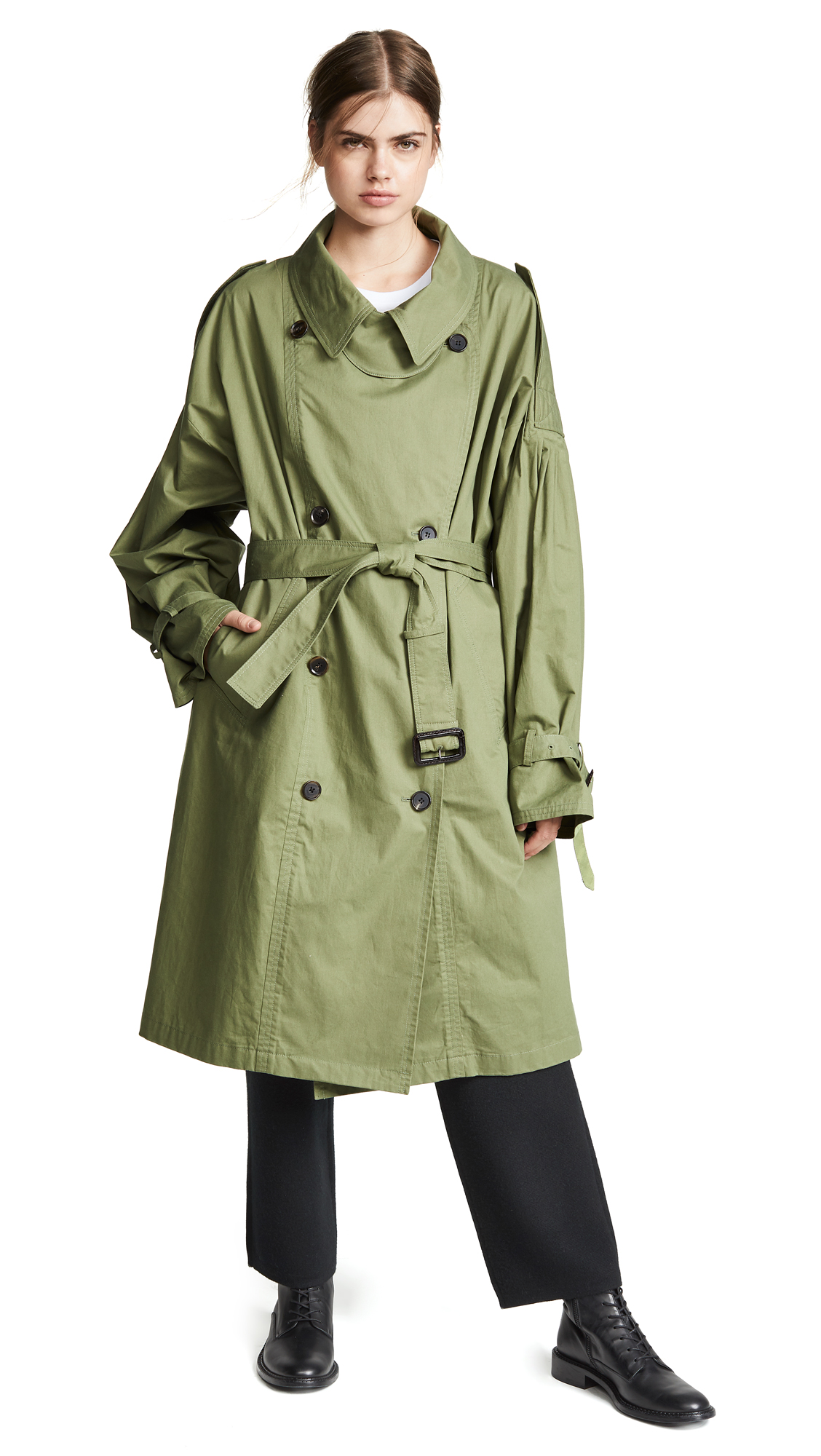 pushBUTTON Oversized Trench Coat In Green