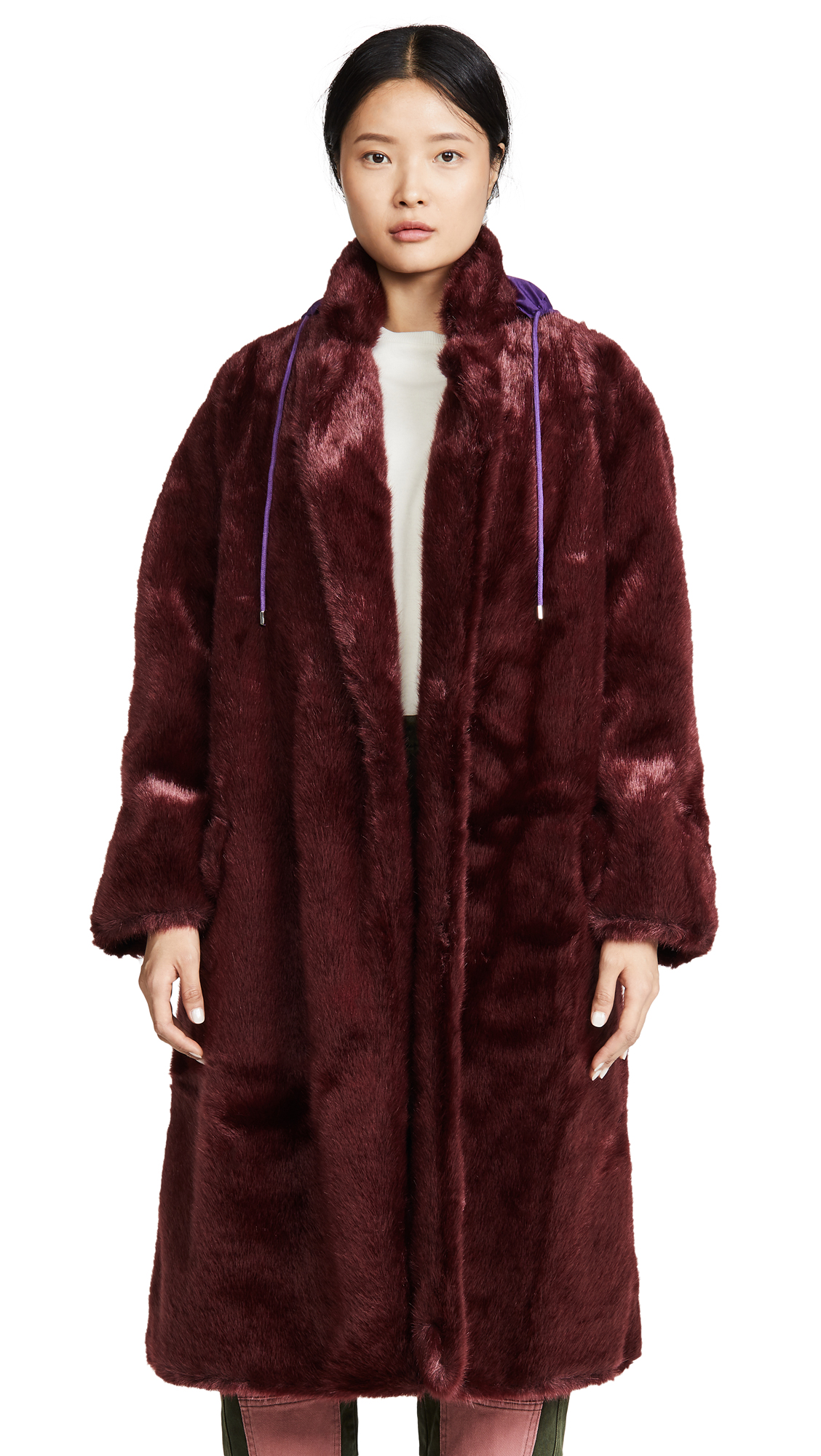 Buy pushBUTTON online - photo of pushBUTTON Hoodie Faux Fur Coat
